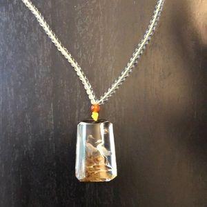Shaman stone hand carved quartz necklace